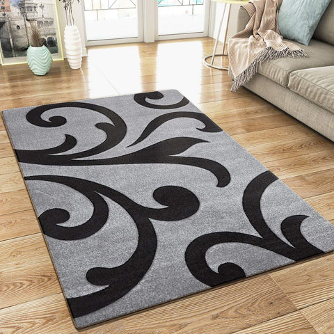 Modern Floral Rug Silver Grey and Black Contour Cut Pattern Damask Design Carpet Mat for Living Room & Bedroom