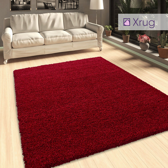 Red Shaggy Rug Extra Large Small Fluffy Carpet for Living Room Bedroom Deep Pile Mat 50mm long pile