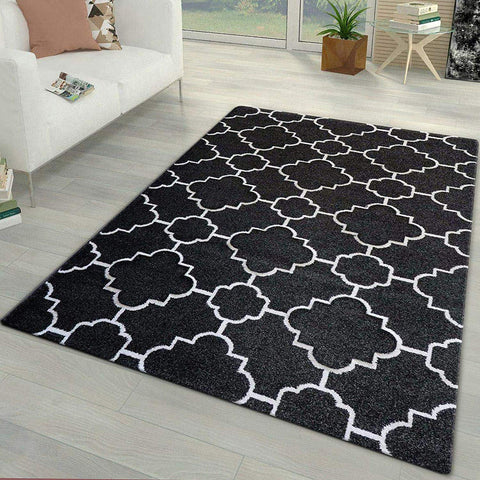 Black and White Rug for Living Room Bedroom Thick Soft Oriental Pattern Carpet
