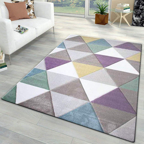 Living Room Rug Bedroom Carpet New Thick Mat Pastel Multi Colour Diamond Pattern