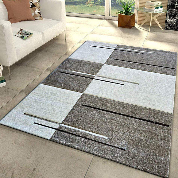 Modern Rug Red Grey Black Checkered Contour Cut Pattern Woven Low Pile Carpet Mat for Living Room & Bedroom