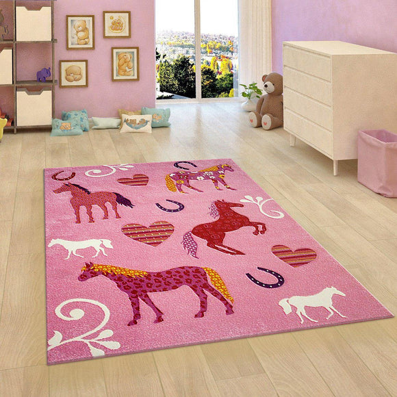 Kids Rug Pink Girls Bedroom Carpet Animals Hearts Horses Thick Soft Nursery Mat