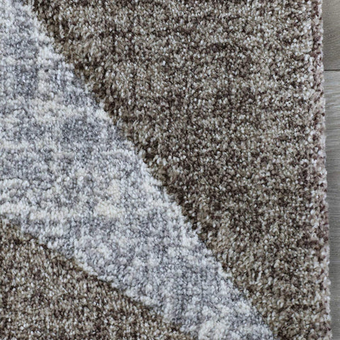 Brown Grey Rug for Living Room Lounge Bedroom Modern Geometric Pattern Carpet