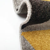 Modern Rug Grey Black Yellow Gold Small Large Carpet Woven Floor Mat
