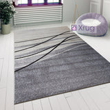 Abstract Rug Modern Pattern Ivory Grey Bedroom Floor Mat Small Large Area Carpet