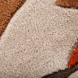 Abstract Rug Orange Brown Beige Contour Cut Modern Pattern Carpet New Lounge Mat