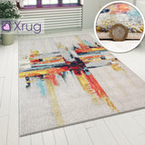 Abstract Rug Woven Multi Colour Modern Pattern Mat for Living Room Lounge Carpet