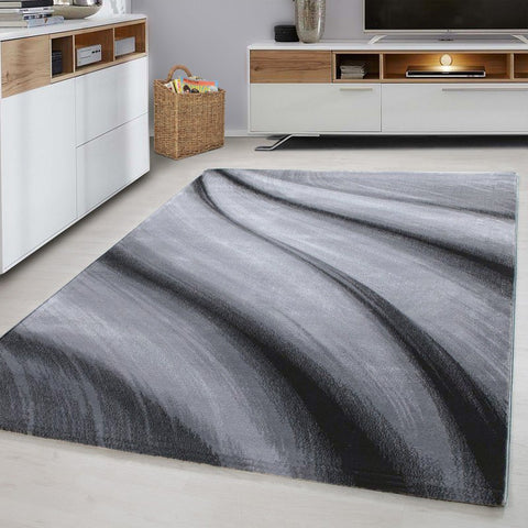 Abstract Rug for Living Room Modern Silver Grey Black Pattern Carpets Runner Mat
