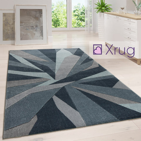 Abstract Rugs Denim Blue Modern Pattern Mat Small Extra Large Living Room Carpet