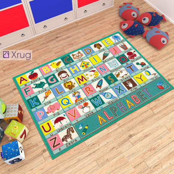 Kids Rug Educational Alphabet Machine Washable Childrens Play Mat Non Slip Nursery Carpet