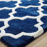 Natural Rug Wool and Viscose Moroccan Trellis Pattern for Living Room and Bedroom