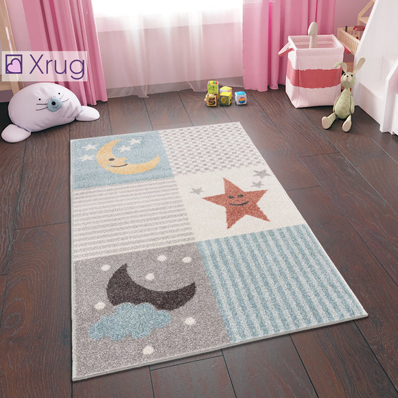 Baby Nursery Rug Grey Cream Kids Bedroom Rug Carpet Star and Moon Childrens Rug 80x120 cm