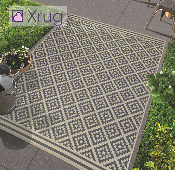 Grey Beige Rug Outdoor Garden Water Resistant Checkered Carpet Indoor Runner Mat