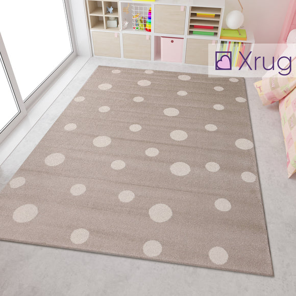 Beige White Cream Кids Floor Rug Childrens Play Rug Dots Spotted Pattern Small Large Carpet Bedroom Round Mat Nursery Baby Boys Girls Unisex Polypropylene