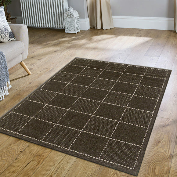 Anti Slip Rug Living Room Black Beige Check Pattern Flat Pile Carpet Mat Runner