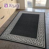 Black Rug Jute Look Flat Weave Hard Wearing Woven Carpet Grey Versace Style Bordered Geometric Pattern Small Large Hall Runner 60x230 80x150 80x250 120x170 160x230