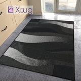 Black Rug Flat Weave Sisal Look Jute Look Hallway Kitchen Area Carpet Small Large