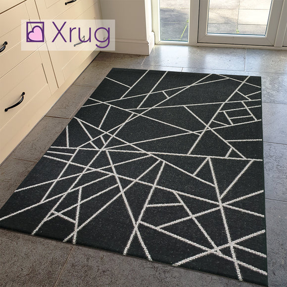 Grey Black Rug Jute Look Flat Weave Hard Wearing Woven Carpet Modern Geo Pattern Small Large Hall Runner 60x230 80x150 80x250 120x170 160x230