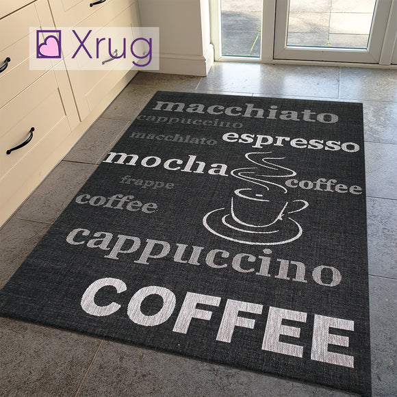Silver Grey Black Rug Jute Look Flat Weave Hard Wearing Woven Carpet Modern Coffee Pattern Small Large Hall Runner 60x200 80x150 80x200 120x170 160x230