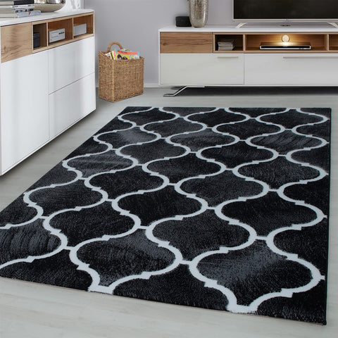 Black Oriental Rug Contour Cut Modern Pattern Mat Living Room Lounge Carpet New