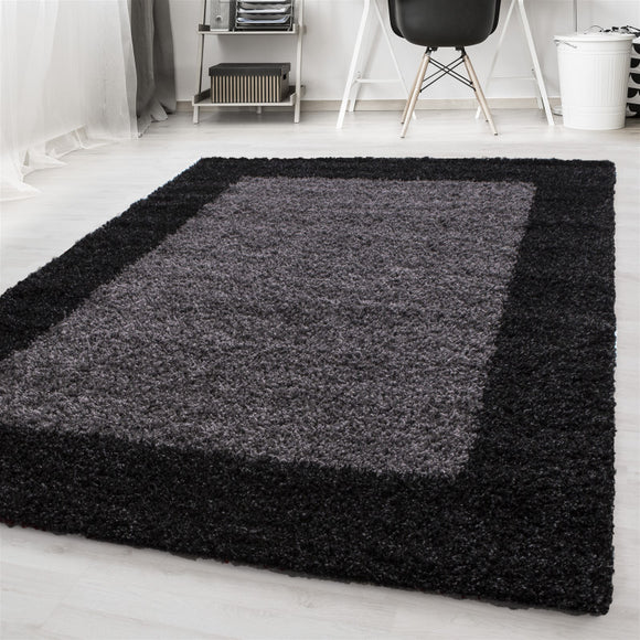 Black and Grey Rug Antrazit Soft Pile Round Fluffy Shaggy Mat Living Room Carpet