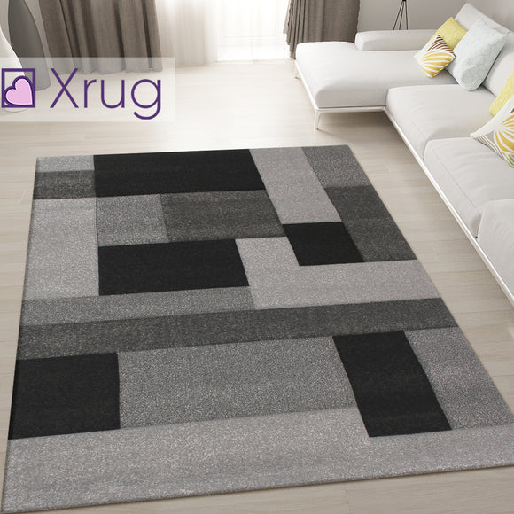 Black and Grey Rug Geometric Hand Carved Pattern Mat Modern Bedroom Floor Carpet