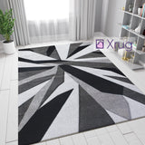 Black and Grey Rug Hand Carved Modern Pattern Carpet Abstract Living Room Mats