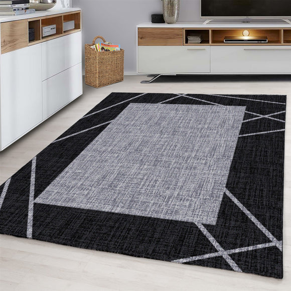 Contemporary Modern Geometric Bordered Traditional Oriental Rug Grey Black Patterned Carpet Small Extra Large XL Living Room Bedroom Area Lounge Mats Woven Polypropylene Heatset Short Low Pile 120x170 200x290 160x230 80x150 80x300