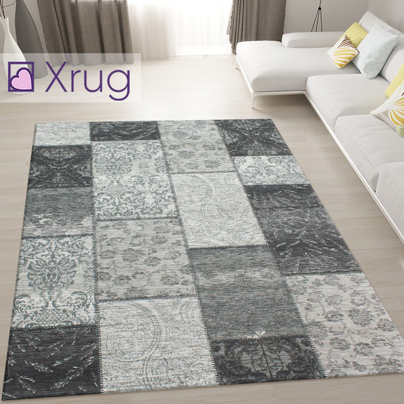 Black and Grey Rug Patchwork Chenille Rugs Modern Living Room Mat Floor Carpet Checkered Geometric Bedroom Area Lounge Short Pile Contemporary Designer Woven