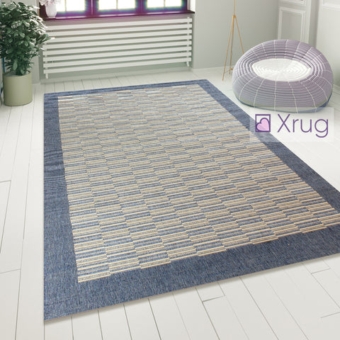 Blue Floor Rug Flat Woven Modern Sisal Look Carpet Hard Wearing Room Lounge Mat
