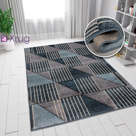 Blue Grey Rug Geometric Contour Cut Hand-Carved Pattern Small Extra Large XL Woven Carpet Living Room Bedroom Area Mat 120x170 160x230 200x290 Polypropylene
