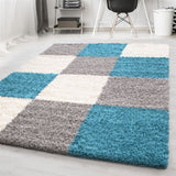 Blue Grey Rug High Pile Small Large Shaggy Floor Mat Fluffy Bedroom Hall Carpet