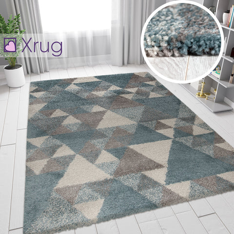 Blue Grey Rug Thick Pile Geometric Rugs Modern Pattern Bedroom Floor Carpet Mat