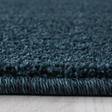 Blue Modern Rug for Bedroom Floor Runner Plain Mat Short Pile Woven Area Carpet
