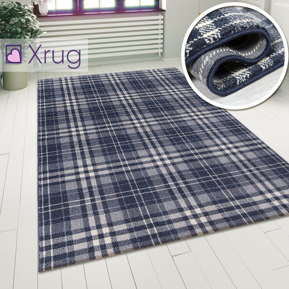Tartan Checkered Rug Blue Patterned Carpet Small Extra Large Modern Bedroom Hallway Runner Mat Geometric Living Room Area Lounge Woven Short Pile Contemporary Floor New