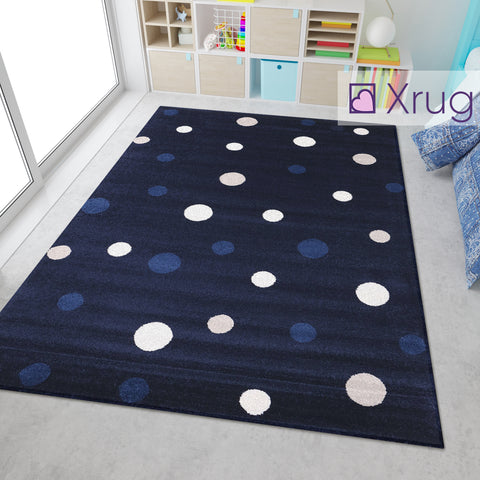 Navy Blue White Cream Кids Floor Rug Childrens Play Rug Dots Spotted Pattern Small Large Carpet Bedroom Round Mat Nursery Baby Boys Girls Unisex Polypropylene