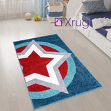 Boys Star Rug Blue Red Super Hero Shield Kids Rugs Carpets Play Room Mats 80x120cm