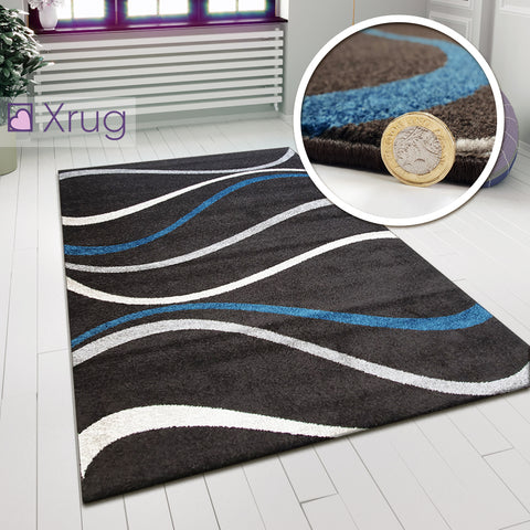Brown Patterned Rug Chocolate Brown and Blue Carpet Modern Living Room Woven Mat 120x170 cm New