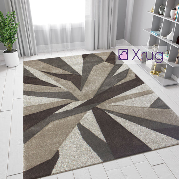 Brown and Beige Rug Abstract Contour Cut Pattern Mat Small Large Bedroom Carpet