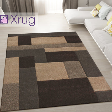 Brown and Beige Rug Modern Hand Carved Geometric Pattern Carpet Living Room Mat