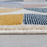 Modern Grey Yellow Rug Geometric Patterned Living Room Bedroom Carpet Runner Mat
