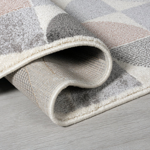 Modern Rug Cream Grey Dusky Pink Geometric Carpet for Living Room Bedroom Low Pile Polypropylene Extra Large Small Mat