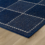 Living Room Navy Blue Rug Flat Weave Anti Slip Woven Carpet Modern Checked Pattern Plain Pattern Small Large Hall Runner Polypropylene Mat 40x60 50x80 60x110 60x180 60x230 80x150 120x160 160x225