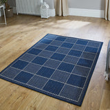 Anti Slip Rug Living Room Navy Blue Check Flat Weave Small Large Runner Carpet Mat