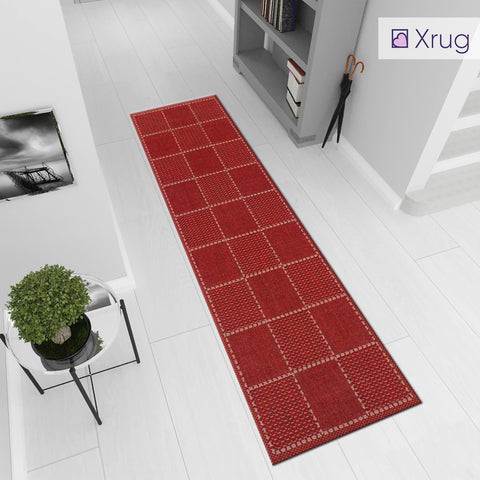 Red Runner Rug Non Slip Kitchen Hall Hallway Runner Long Carpet Durable Check Flat Weave Mat