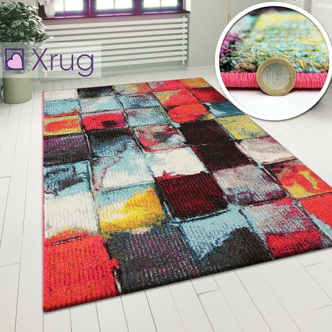 Checkered Rug Modern Multi Colour Abstract Carpet Large Living Room Low Pile Mat