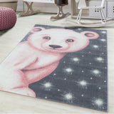 Kids Animal Rug Grey Pink Bear Pattern Childrens Bedroom Play Room Floor Mat Baby Nursery Girls Boys Unisex Stars Carpet Small Large 120x170 160x230 80x150 120 160 Round Polypropylene Friese Short Low Pile