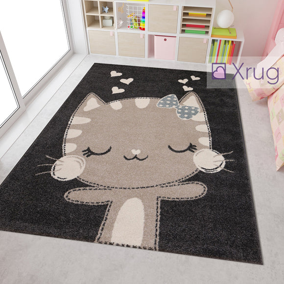 Childrens Animal Rug Dark Grey Beige Kitten Cat Pattern Kids Bedroom Mat Play Carpet Boys Girls Unisex  Baby Nursery