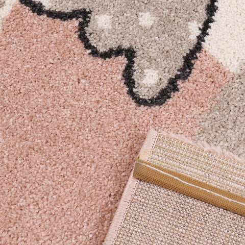 Childrens Animal Rug Kids Pink Beige White Cream Lamb Sheep Pattern Playroom Carpet Baby Room Bedroom Girls Boys UnisexMat