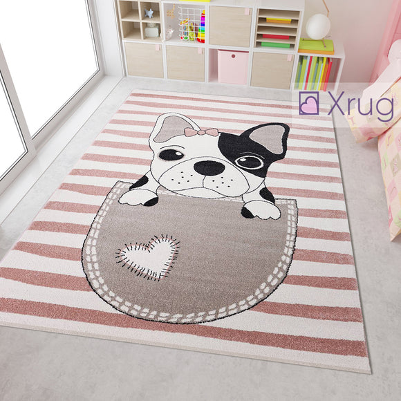 Childrens Animal Rug Pink White Cream Beige Black Dog Design Carpet Kids Nursery Mat Baby Play Bedroom Floor Boys Girls Unisex